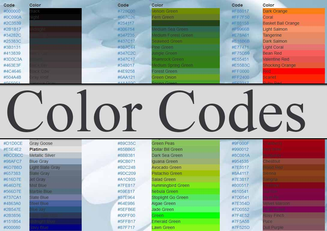 All Color Codes